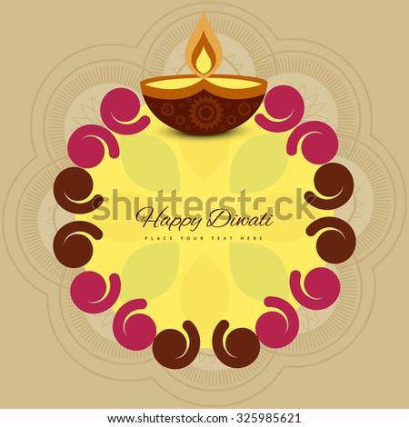 Happy diwali colorful rangoli for diya celebration background vector - stock vector
