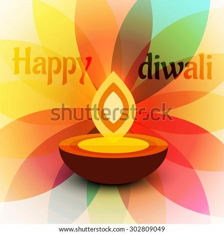 happy diwali design vector colorful background illustration - stock vector