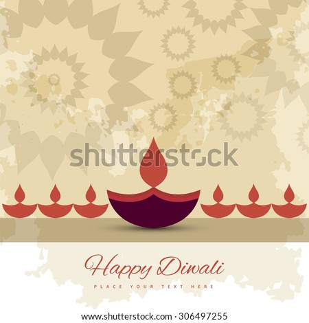 Happy diwali diya celebration decorative colorful background vector - stock vector