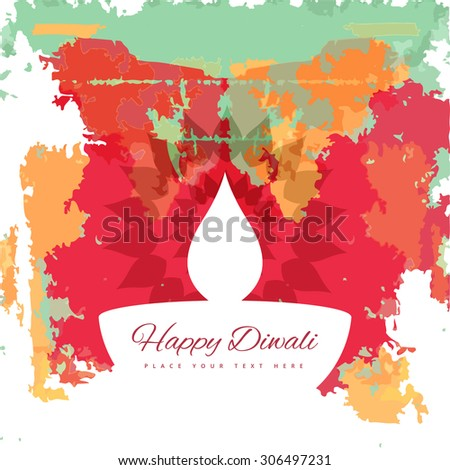 Happy Diwali diya colorful artistic grunge design illustration vector - stock vector
