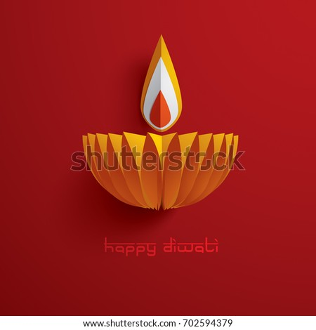 Paper Graphic Of Indian Diya Oil Lamp Design The Festival Lights