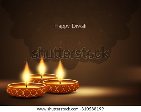 Happy Diwali religious brown color vector background. - stock vector