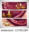 happy diwali stylish colorful set of headers background - stock vector