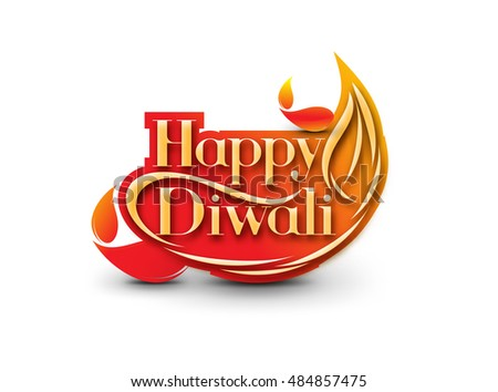 Happy Diwali text design. Abstract vector illustration.