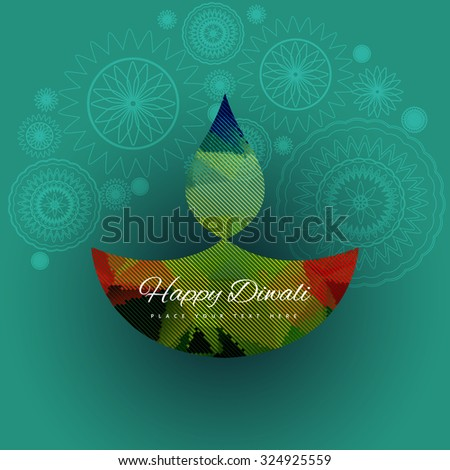 Happy diwali vector colorful style background illustration - stock vector