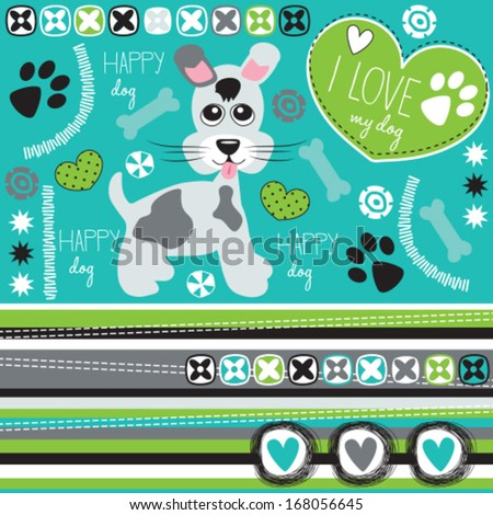 happy dog with paw print and bone vector illustration - stock vector