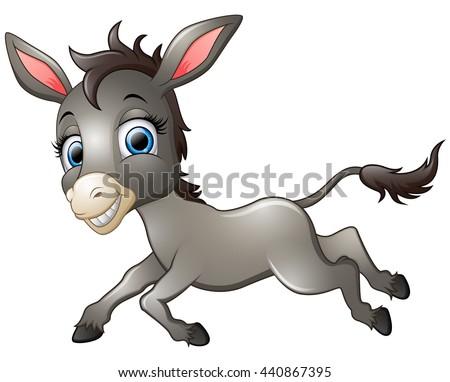 Happy donkey cartoon running - stock vector