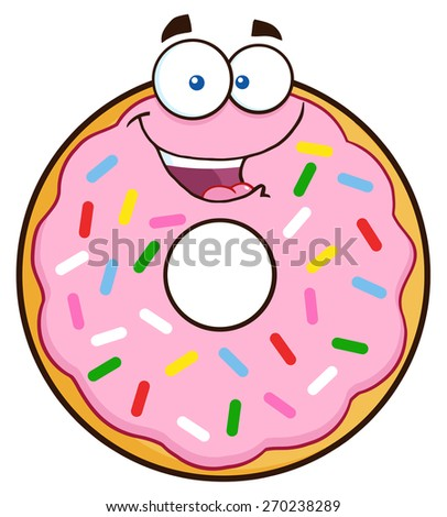 Happy Donut Cartoon Character With Sprinkles. Vector Illustration Isolated On White - stock vector