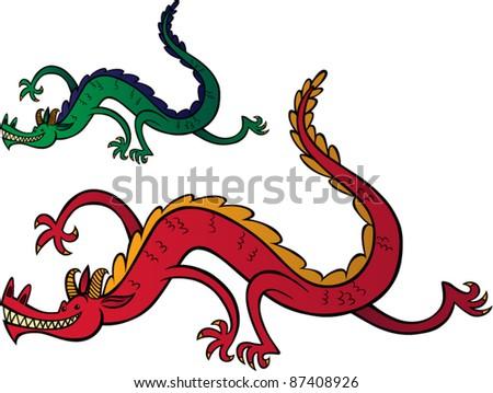 Happy Dragon Running - stock vector