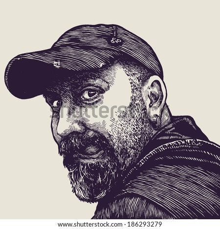 happy dude in cap showing tongue. engraving style. vector illustration   - stock vector