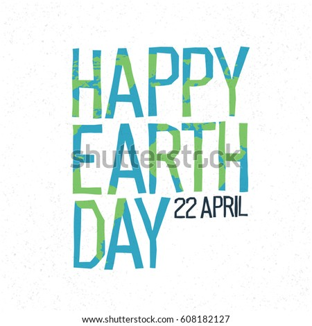 Earth Day Banner 22Nd April Lettering Letters Form Islands Shadow ...