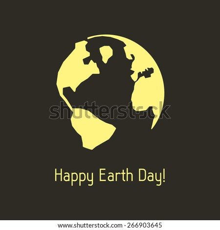 happy earth day with yellow outline planet. concept of travel, geography, postcard, nature pollution, global warming, ecosystem, ecological harmony. flat style modern design vector illustration - stock vector