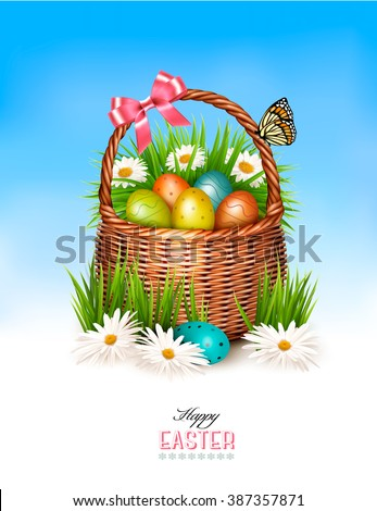 Happy Easter background. Basket with eggs and a butterfly against a blue sky. Vector. - stock vector