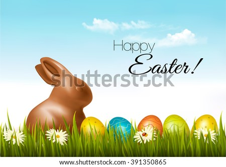 Happy Easter background. Easter eggs and a chocolate bunny. Vector. - stock vector