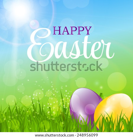 Happy Easter Background Vector Illustration  - stock vector