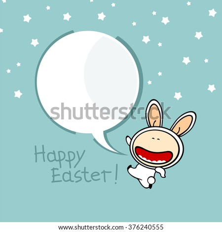 Happy Easter background with a bunny - stock vector