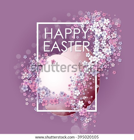Happy Easter background with frame egg and flowers - stock vector