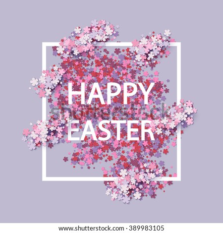 Happy Easter background with frame flowers - stock vector