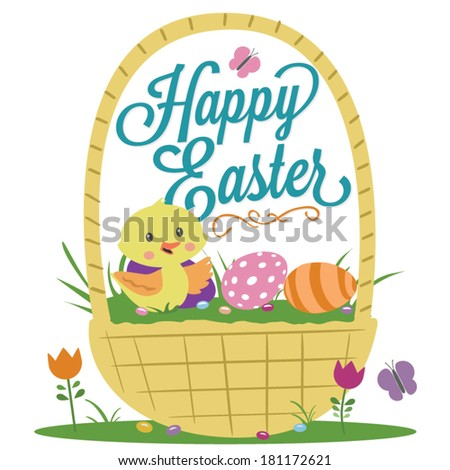 Happy Easter Basket Duck Eggs Flowers Jelly Beans Vector - stock vector