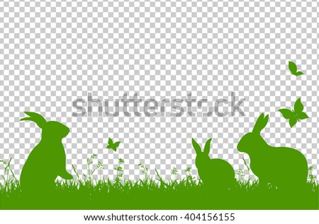 Happy Easter Border, Isolated on Transparent Background, Vector Illustration - stock vector