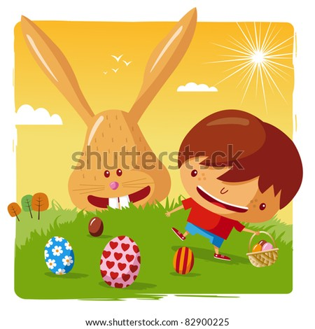 happy easter - boy and easter bunny
