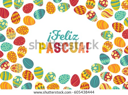 Happy easter bright design card easter stock vector 605438444 happy easter bright design card easter bunny and painted eggs greeting card spanish text m4hsunfo