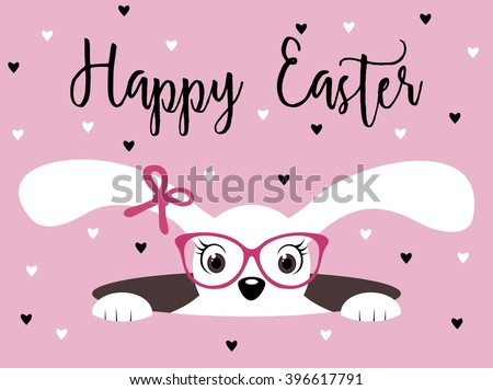 Happy Easter bunny girl with glasses on pink background with hearts - stock vector
