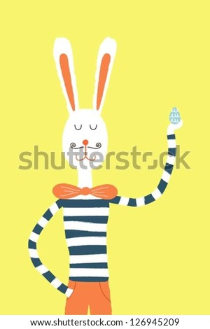 Happy Easter bunny holding an Easter egg - stock vector