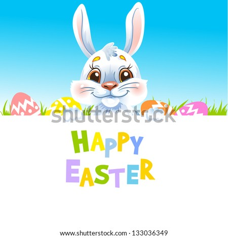 Happy Easter Bunny holding banner. Text on a separate layer. - stock vector