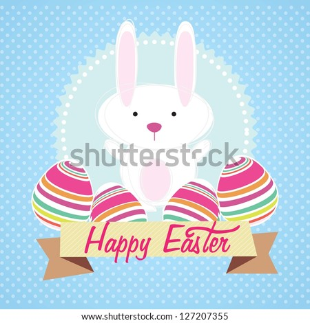 Happy Easter bunny on blue background. Vector Illustration - stock vector