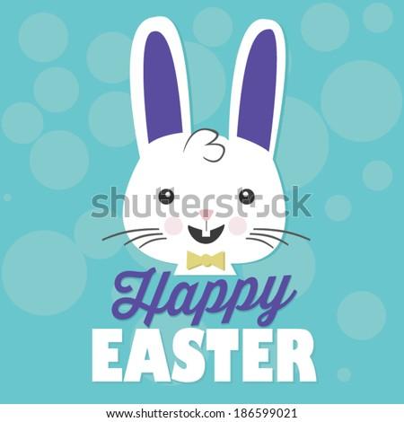 Happy Easter Bunny Rabbit Vector - stock vector