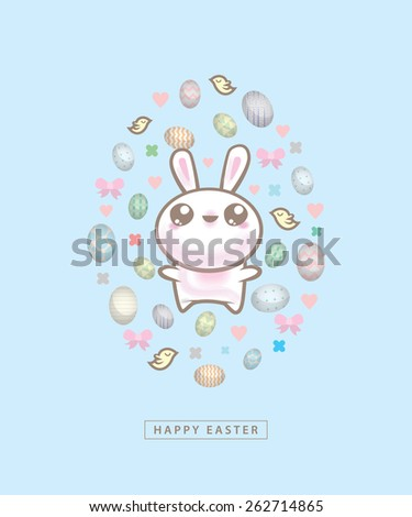 Happy Easter bunny with eggs on blue background - stock vector