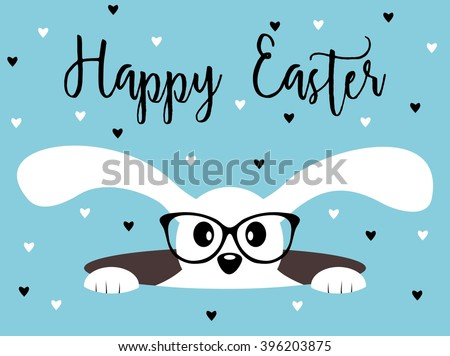 Happy Easter bunny with glasses on heart patterned background. Isolated on white - stock vector