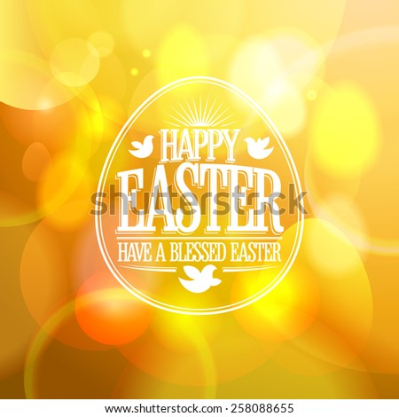 Happy Easter calligraphic design on a gold bokeh lights background. - stock vector