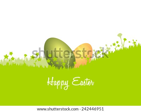 Happy Easter card illustration . Green and golden eggs hidden in the grass - stock vector
