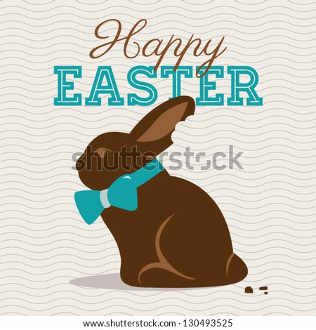 Happy easter card illustration vector with chocolate easter bunny - stock vector