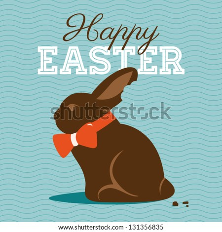 Happy easter card illustration with easter chocolate bunny, easter rabbit and type font - stock vector