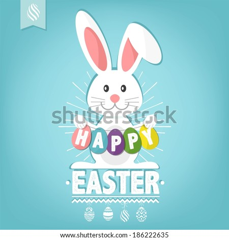 Happy Easter Card Illustration With Easter Eggs And Rabbit - stock vector