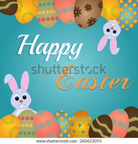 Happy Easter card template, colored eggs and polka dot pattern - stock vector