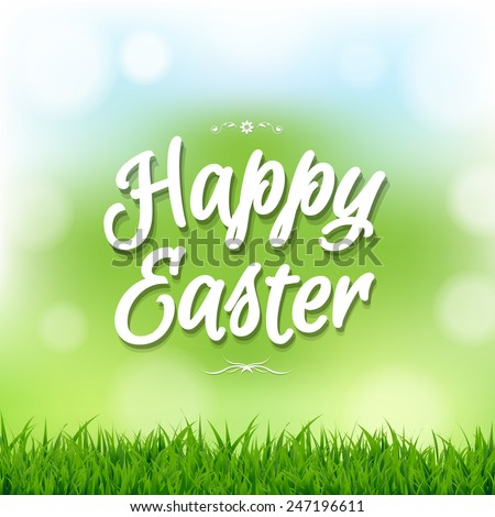 Happy Easter Card With Bokeh With Gradient Mesh, Vector Illustration - stock vector