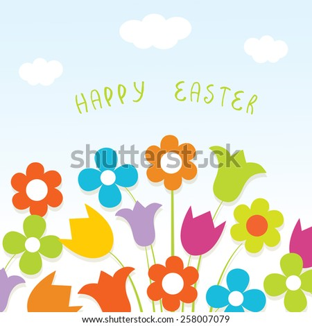 Happy easter card with bright flowers - stock vector