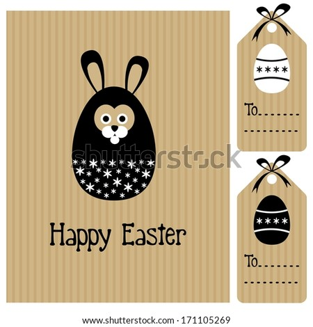 Happy easter card with bunny hare and egg, invitation, black white design, cute vector illustration - stock vector