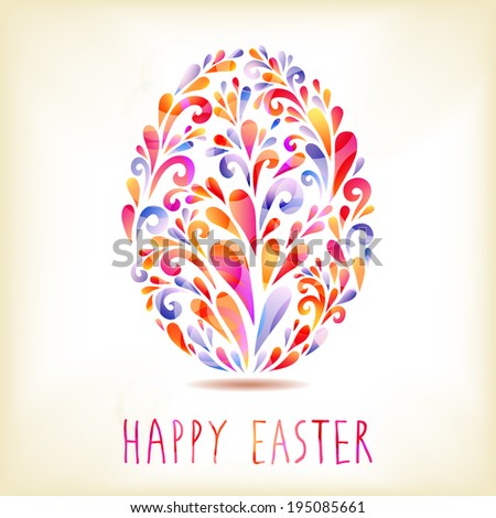 Happy Easter card with colorful decorated egg - stock vector