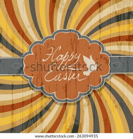 Happy Easter Card with Colorful Rays Background - stock vector