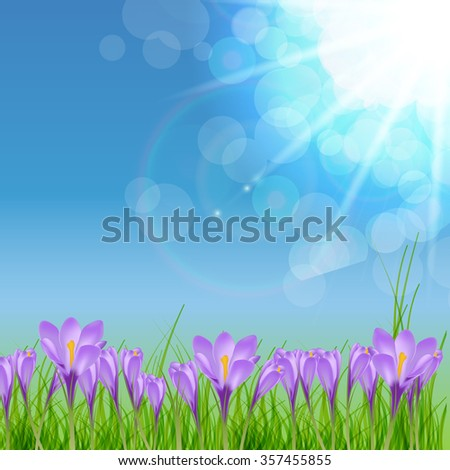 Happy Easter Card with Crocuses Vector Illustration EPS10