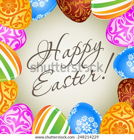 Happy Easter Card with Decorated Eggs - stock vector