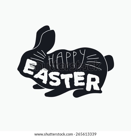 Happy easter card with easter bunny. Vintage typography illustration. Vector. - stock vector