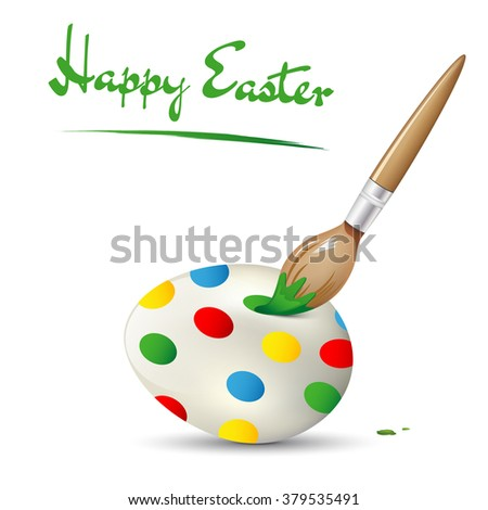 Happy Easter card with easter egg and painting brush - isolated on white background. Vector illustration. - stock vector