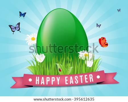 Happy easter card with egg, grass, flowers and butterflies - vector illustration - stock vector