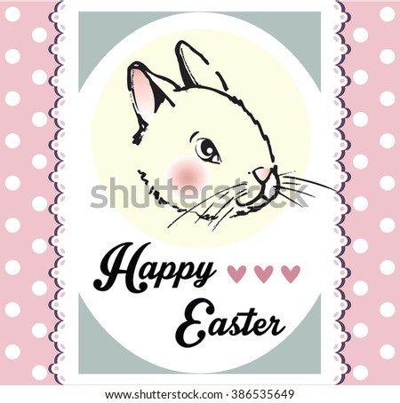 Happy Easter card with rabbit - stock vector